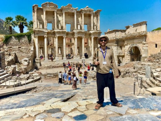 Sidal Yaşar standing in front of Celcius Library in Ephesus