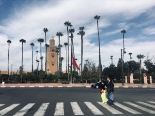 A couple walking on the pedestrian in Marrakesh